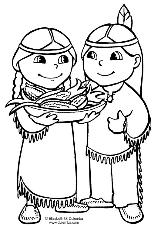 pilgrim and indian colouring page thanksgiving colouring page 1